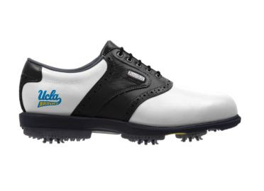 University of California Los Angeles golf shoe that is white with black accents and a blue and golf small college logo on the side next to the arch support and Footjoy emblem.