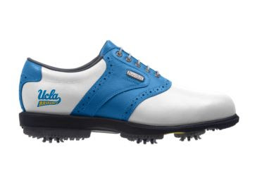 Bruins golf shoe that has a white toe and blue stripe as well as a blue heel with a Bruins logo near the heel.
