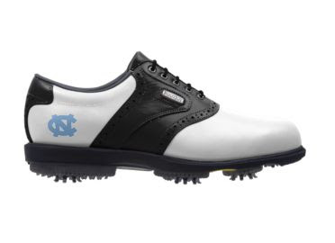 North Carolina golf shoe that is black and white in traditional design with a UNC Carolina blue logo on the side next to the Footjoy logo on these men's size 9 golf footwear.