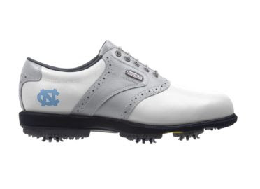 North Carolina Tar Heels golf shoe that is gray and white with a Tar Heels blue logo on the side above large black plastic cleats.