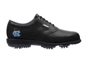 Tar Heels golf shoe that is black with a Carolina blue logo on the heel by the padded ankle area with a black tongue and black shoelaces.