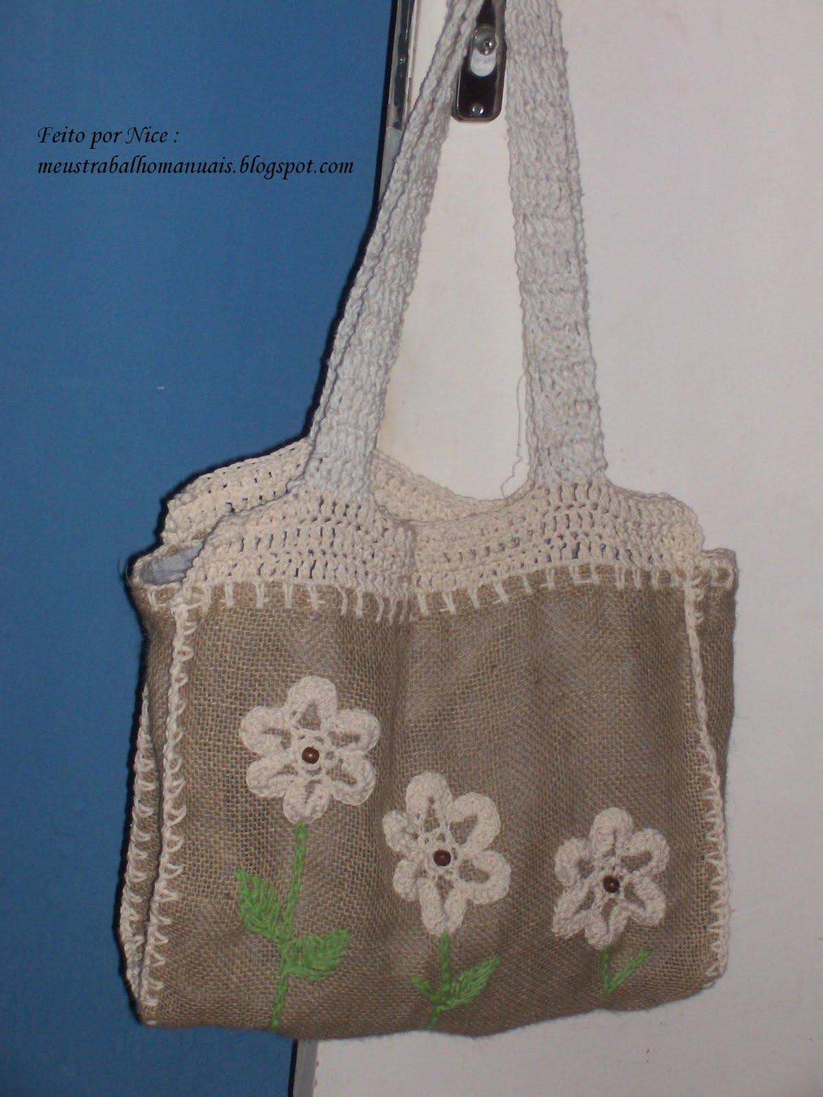 Bolsa De Juta E Tecido : Mais bolsas de tecido meus trabalhos manuais