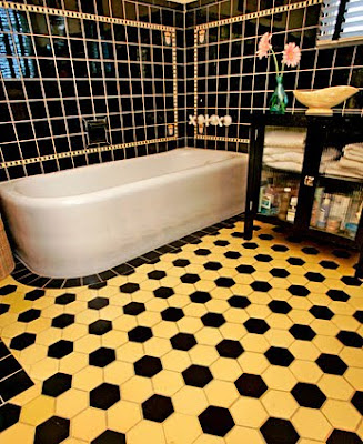Period Master Bathroom Original Yellow<br />and Black Tiles