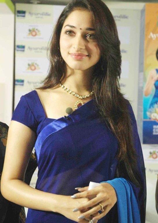 Tamanna Gorgeous In Blue Saree