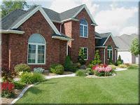 Dutch Touch landscape lawn and garden landscape brick house