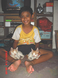 My Son with his cats