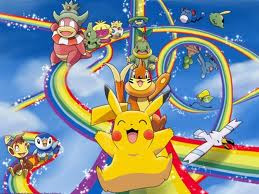 To print pictures of pokemon: pikachu on a rainbow