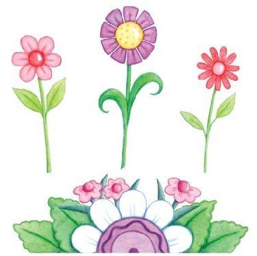 Flores de colores; Imagenes infantiles de flores para imprimir