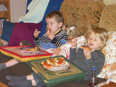pizza for tea, sofa and television