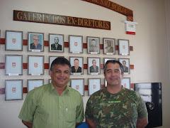 Vereador Edmundo da Rosa em reunião com o Cel. Quadros no Campo de Instrução Barão de São Borja