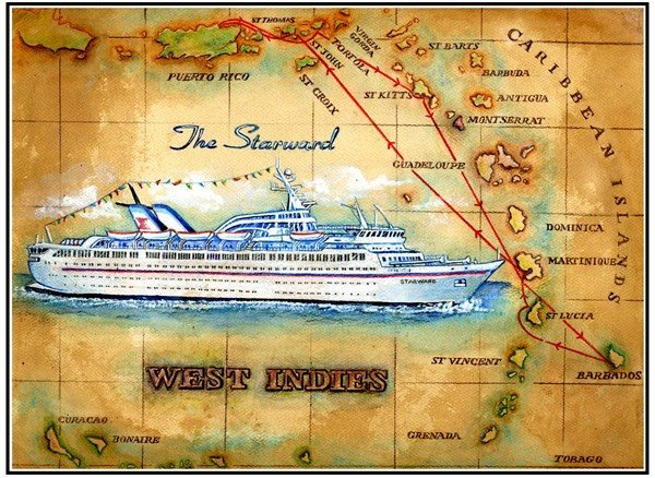 Painted Vintage Cruise Ship Itinerary Maps By Artist Robert Hummel - Starward cruise ship