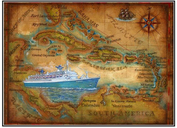 Painted Vintage Cruise Ship Itinerary Maps By Artist Robert Hummel