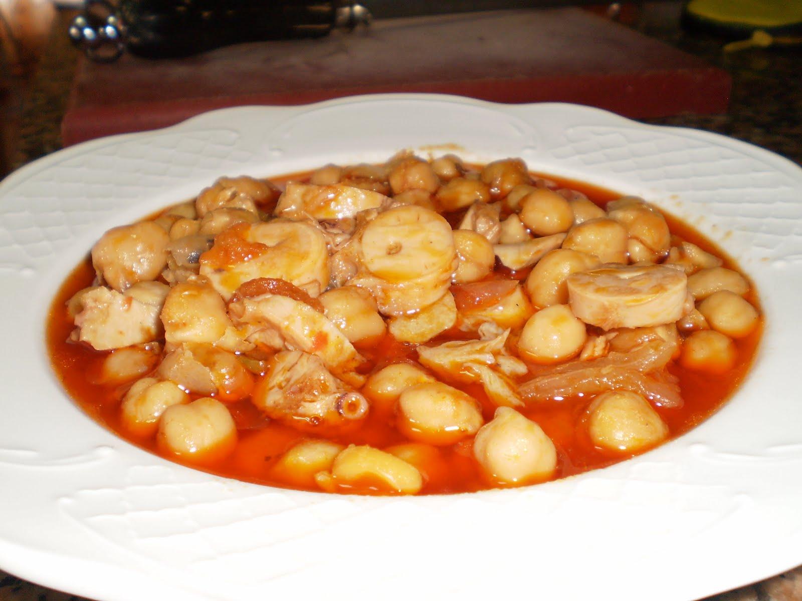 La cocina de bartolo garbanzos con pulpo for Pulpo en olla rapida