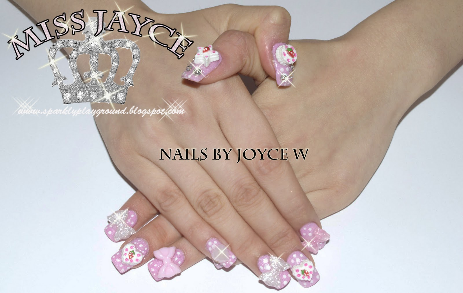 GEL NAILS: Sweet Strawberry Shortcake Pink Nails - Sparkly Playground