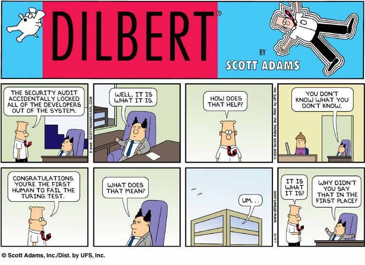 Dilbert: a human fails the Turing Test