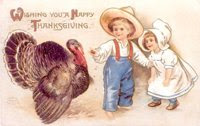 vintage clip art thanksgiving turkey with farm children