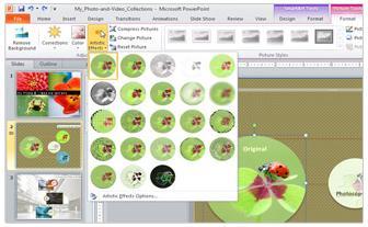 Click Artistic Effects untuk melihat lebih dari 20 efek yang bisa