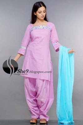 Designer Dress Patterns on Cotton Patiala Salwar Kameez In Plum Color For Summer Season
