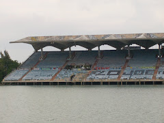 The sadly dilapidated Marine Stadium in Miami. There is a group working on restoration, though.