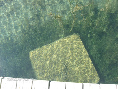 Crystal clear water at Little Current.  That's the cement block holding the dock-about 15 feet down