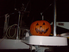 Was a low key Hallowe'en.  We stayed in and our 'found' pumpkin smiled from the bow pulpit.