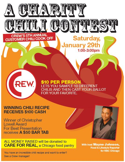 uptown update crew 39 s 5th annual chili cook off january 29. Black Bedroom Furniture Sets. Home Design Ideas