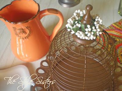 Rusty Cloche, Orange Pitcher, Summer Tablescape