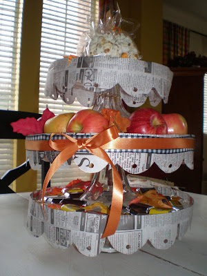 3 tier stacked cake plate for fall, fall decorations, Using newspaper