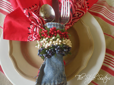 Denim Silverware holders, denim tablescape, red white and blue tablescape, Memorial Day Table decor, 4th of July table decor,  Red white and Blue