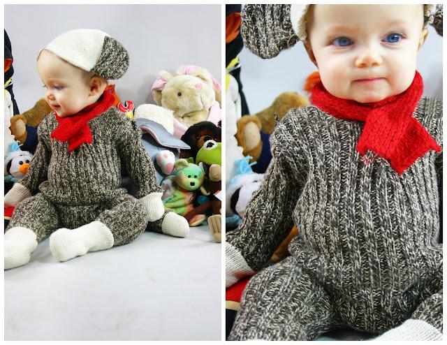 Disfraz casero de mono de trapo para bebs