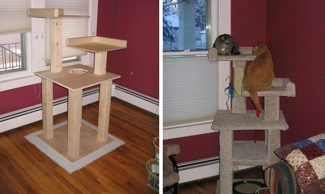 M s ideas para fabricar un bonito rbol para gatos - Casas para gatos de madera ...