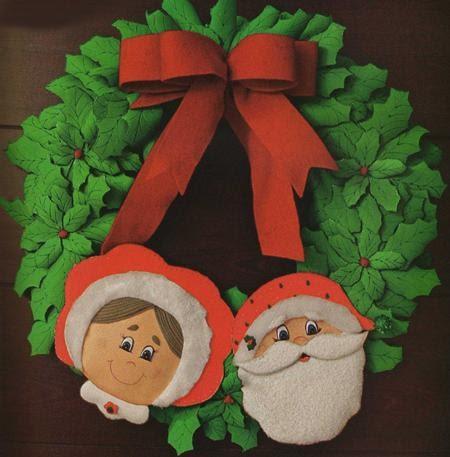 Adornos fieltro moldes de navidad como hacer una corona navide a - Como hacer coronas navidenas ...