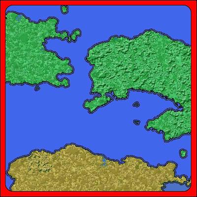 En låtsaskarta med struktur på landområdena.