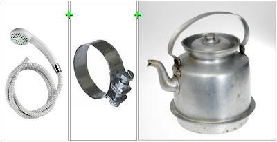 Ett duschmunstycke fästat på en slang som medelst en slangklämma är fästad på pipen på en kaffekokare.