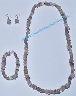conjunto collar pulsera pendientes piedra semipreciosa fluorita
