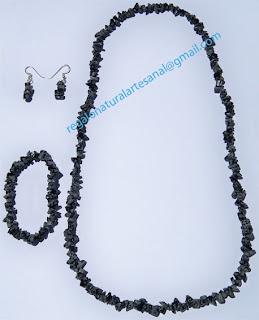 conjunto collar pulsera pendientes de piedra semipreciosa obsidiana
