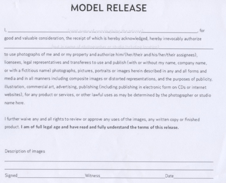 Jessica Model Release Form