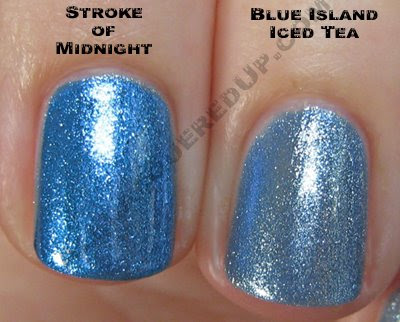 china glaze, bahama blues, winter 2008, nail polish, nail lacquer, nail color, nail colour, blue, blue island iced tea, stroke of midnight