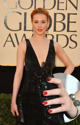 red nails evan rachel wood golden globes Golden Globe Nail Watch   Red &amp; Vampy Ladies