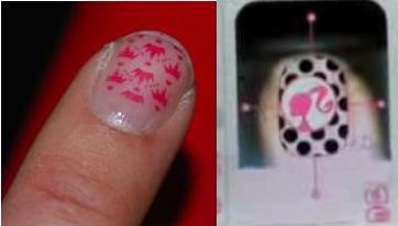 high tech nail art with barbie