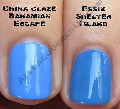 essie shelter island china glaze bahamian escape Swatch Request Sunday   Blues and Greens and Berries, Oh My!