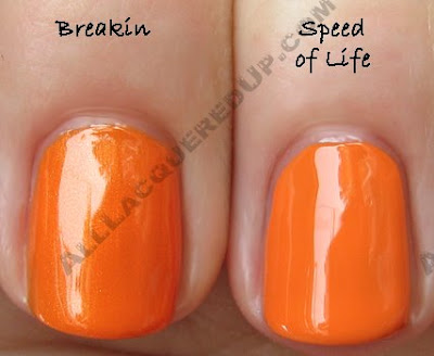 misa speed of life china glaze breakin Swatch Request Sunday   Orange You Glad You Asked?