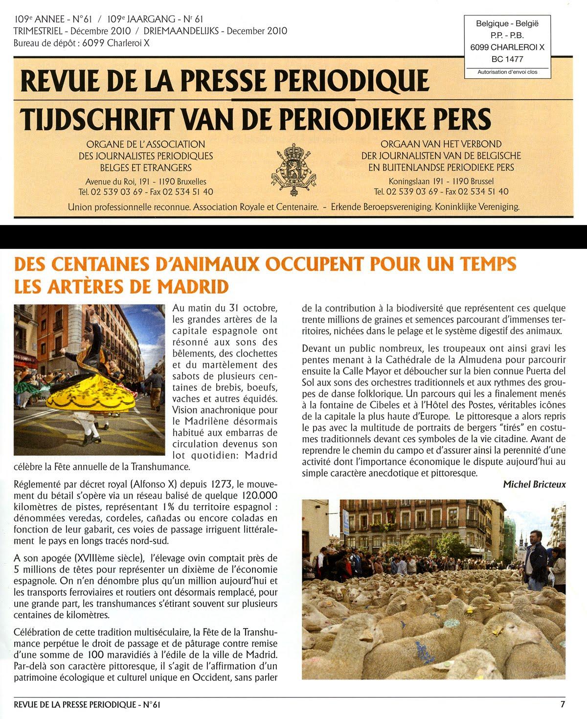 Article/photos publiés dans la Revue de la Presse Périodique