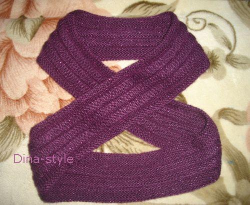 шарф хомут спицами.