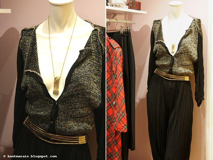 Combinaison et accessoires vintage - maille lurex doré et bijoux or vintage chez La Jolie Garde Robe Paris
