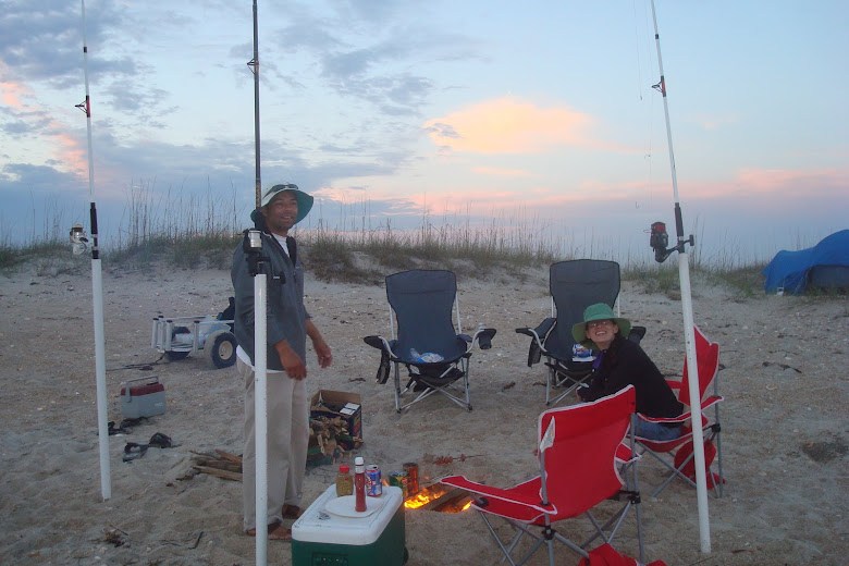 Our amazing setup...Shackleford Island at it's finest!