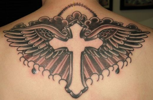 tribal cross tattoos. crosses tattoo designs. wing