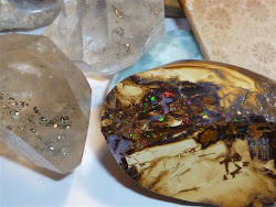 Pyrite included Quartz, Larimar, fossilized coral, boulder opal
