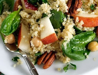 ... Quinoa Salad Recipe with Pears, Baby Spinach and Chick Peas in a Maple