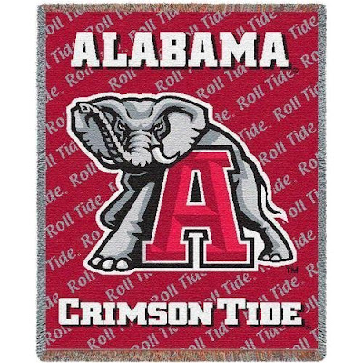 Red University of Alabama blanket with the elephant mascot and a big letter A.